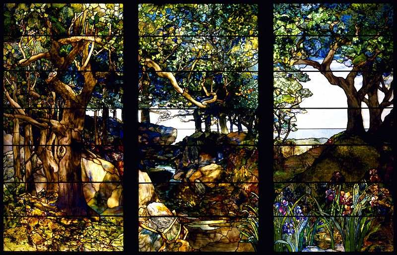 Louis Comfort Tiffany - A Wooded Landscape in Three Panels, circa 1905 - exposition