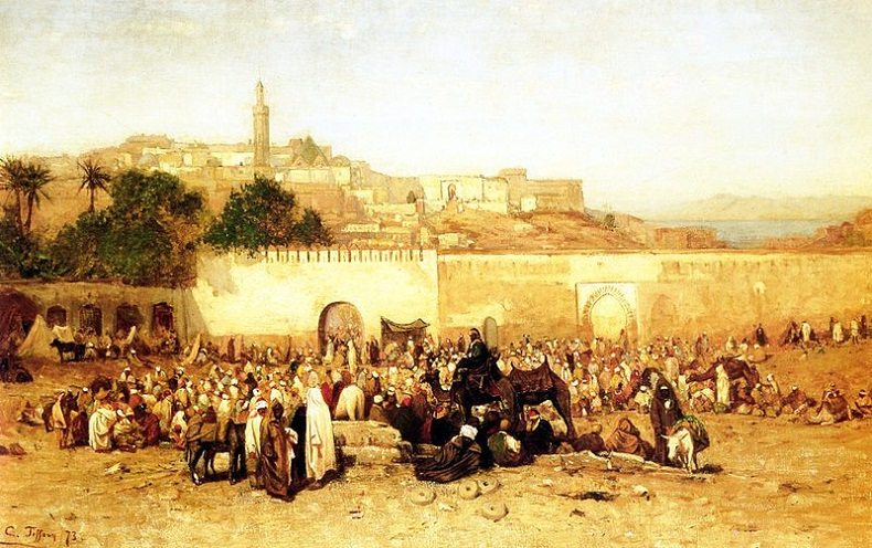 Louis Comfort Tiffany - Market Day Outside the Walls of Tangiers, Morocco, 1873 - exposition