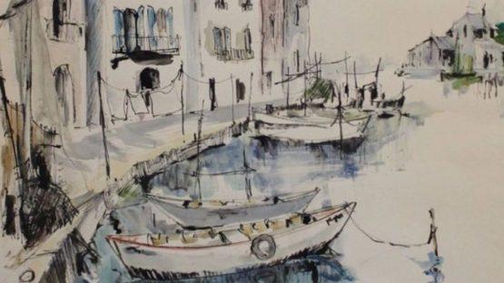 Louis Francois Lepine - Les Martigues (detail), watercolor