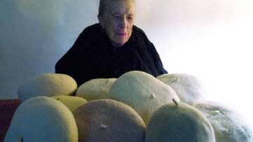 Louise Bourgeois with her berets as a fabric sculpture in progress in 2010