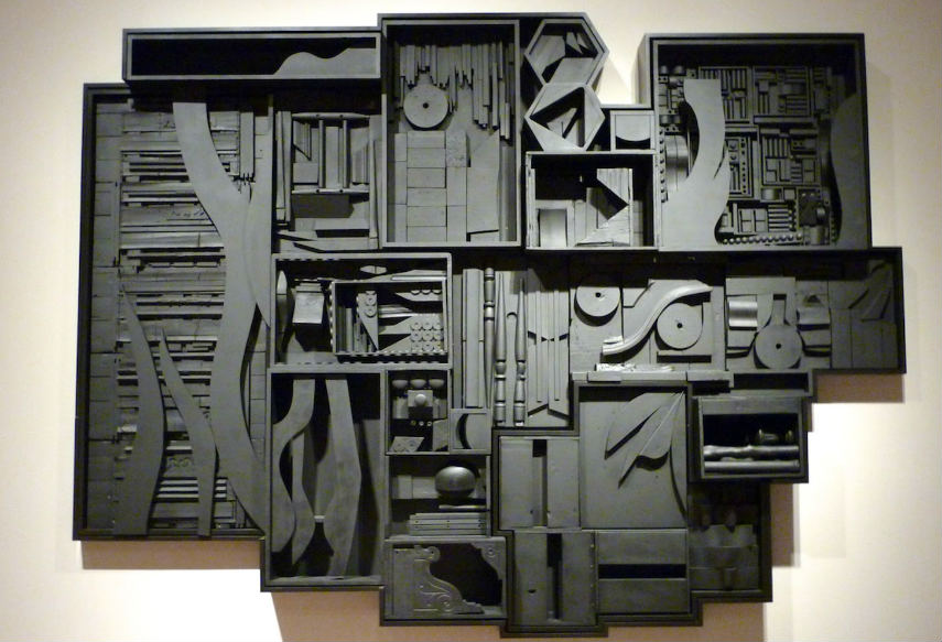 Louise Nevelson - Night Zag Wall, 1974, photo via svartscene2013blogspotcom robert american untitled city robert black sculptures painted white museum modern