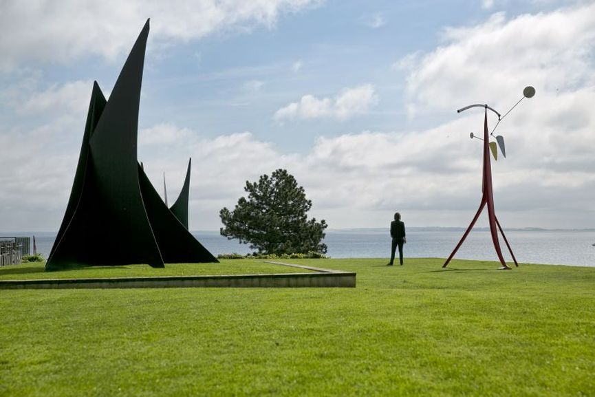 Louisiana Museum of Modern Art, View of the Calder-terrace, seen here are Calder's works Almost Snow Plow 1964:76 (left) and the mobile Little Janey-Waney, 1964-76 (right)