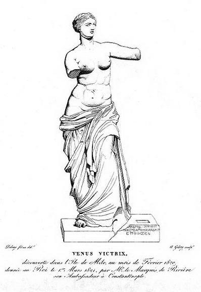 Drawing of Venus de Milo statue by Jean Baptiste Jospeh de Bay the Elder, located in Louvre in the Greek history of Aphrodite