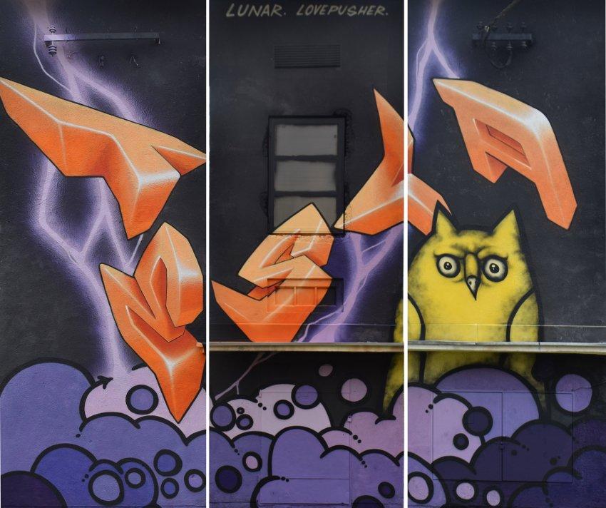 Lovepusher & Lunar - Tesla mural, Perusic, Croatia, 2016, photo by Mario Paral