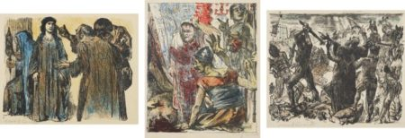 Lovis Corinth-Chambri and Charmi visiting Judith; Bagoa and the Generals before the Corpse of Holofernes; and The Battle of the Jews, plate 10, 19 and 20 from The Book of Judith-1910