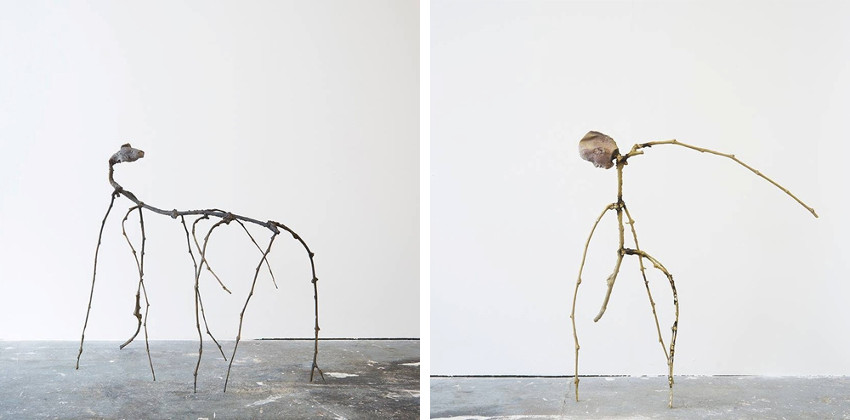 Luca Francesconi - Horse, Agricultural Apocalypse, 2016 (Left) - Melancholy By the Man Who Thinks to the Tree (Pier delle Vigne), 2016 (Right), image via Galleria Umberto Di Marino