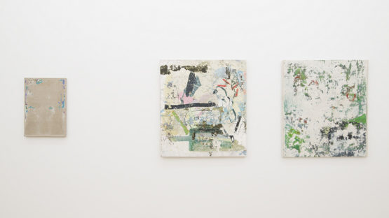 Lucas Ajemian - Laundered Paintings, 2014, installation view, photo courtesy of Marlborough Chelsea