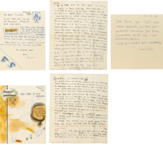 Lucian Freud - Cache of Six Letters from Lucian Freud to Stpehen Spender (Lot 202). Estimated at $3,124-$4,685; sold for $140,563