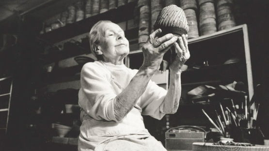 Lucie Rie in her studio