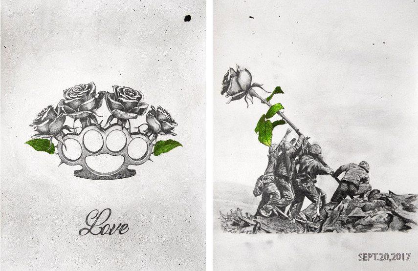 Left: Ludo, Love, Original, 2017, Pencil & Oil Paint on 300gsm Arches Paper, 41 x 31 cm / Right: Ludo, Bring Dialogues, Original, 2017, Pencil & Oil Paint on 300gsm Arches Paper, 41 x 31 cm