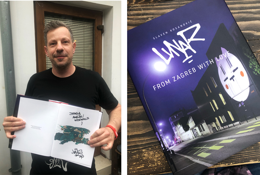 Lunar with his From Zagreb With Love book with a special dedication to Widewalls