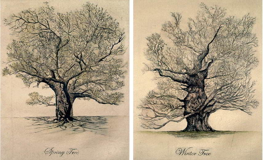 Lyndi Sales - Spring Tree, (Left) Winter Tree, (Right), Photo Credits: trowbridgegallery.com
