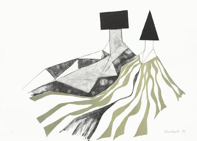 Lynn Chadwick-Reclining Couple & Reclining Forms II-1971