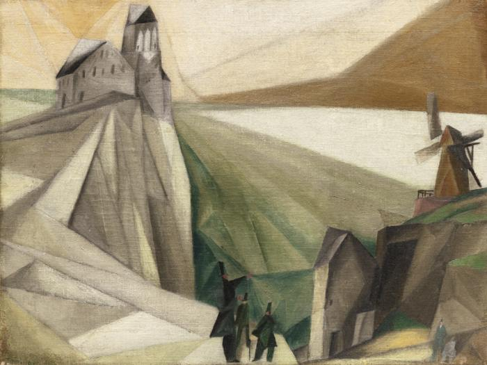 Lyonel Feininger-Study, On The Cliffs (Early Attempt At Cubist Form)-1912