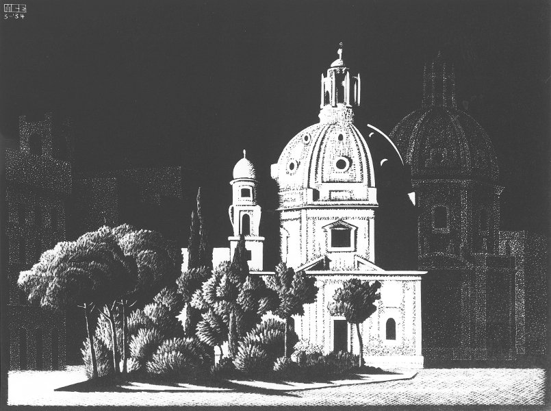 Nocturnal Rome Small Churches, Piazza Venezia, 1934