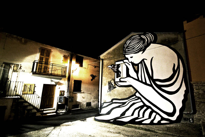 images of new mural by italian street and graffiti artist mp5
