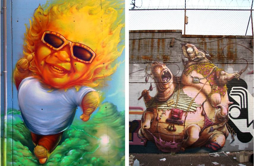 Made514 - Graffiti piece in Udine, 2009(Left) ---- Graffiti piece in New York, 2005 (Right)