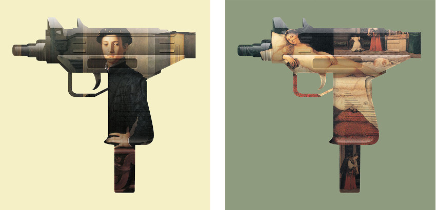 Magnus Gjoen - Machine Gun Renaissance Boy, 2011 (Left) / Machine Gun Venus, 2011 (Right) - like