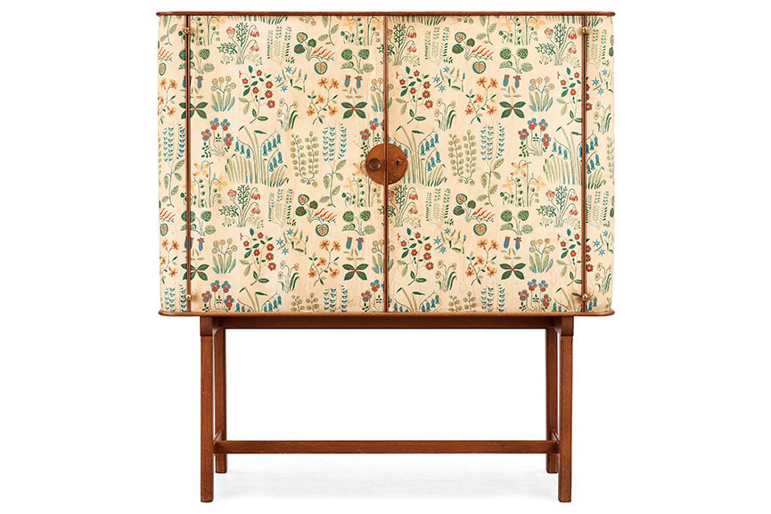 Mahogany cabinet, by Josef Frank. Covered in Frank's floral chintz fabric 'Fatima'. Svenskt Tenn, circa 1937