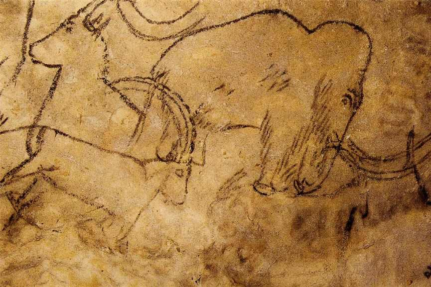 The first animal paintings were on a wall of a cave such as Mamoth from Pech Merle, 20000 BC