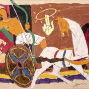 Maqbool Fida Husain - Arjun And Sudarshan Chakra, circa 1980s (detail)