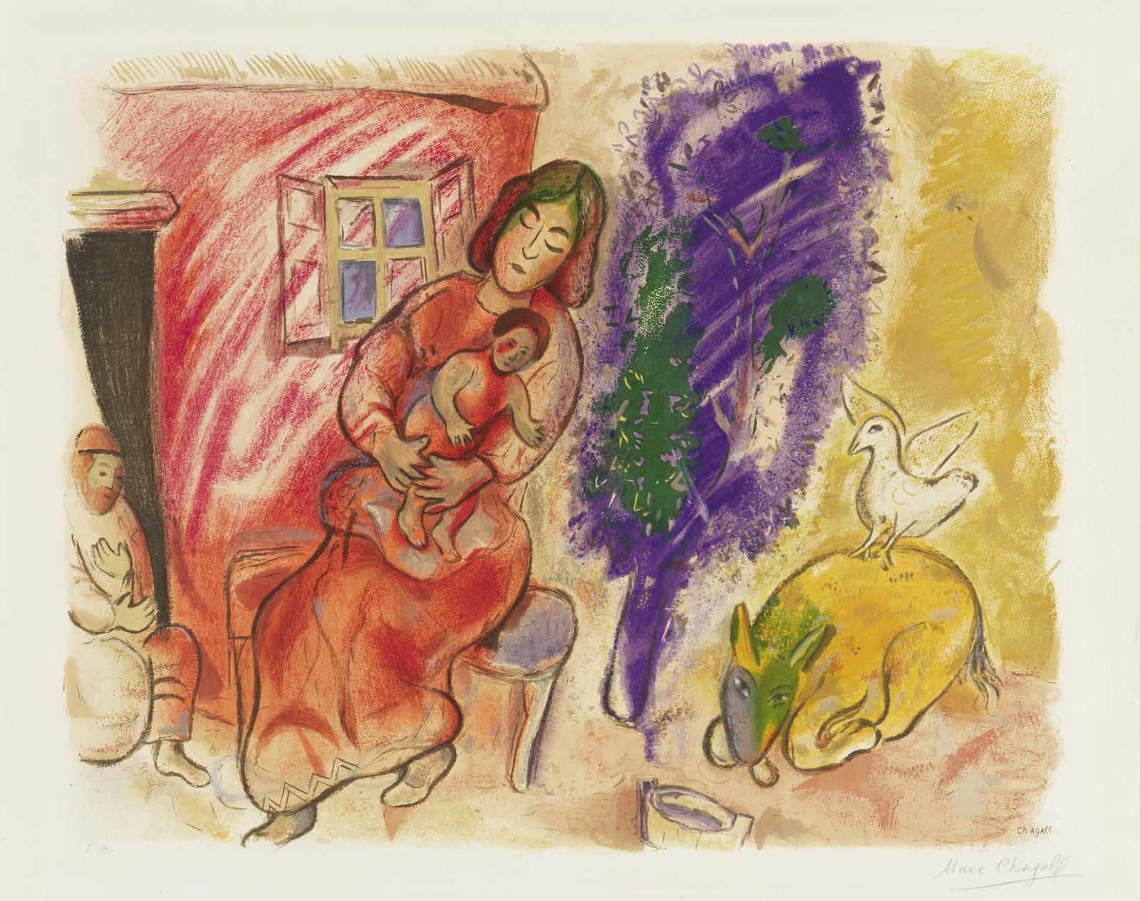 Marc Chagall-After Marc Chagall - Maternite-1954