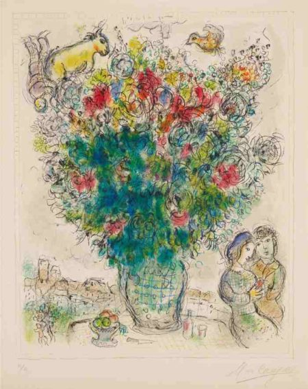 Marc Chagall-Bouquet multicolore (Multicolored Bouquet)-1975