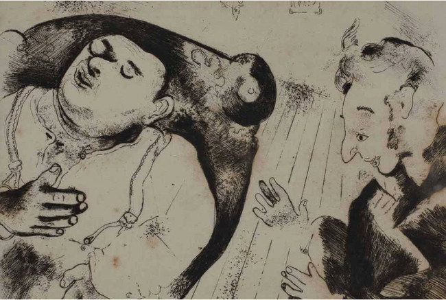 Marc Chagall - Chichikov and Sobakevich after dinner, illustrations for Gogol's Dead Souls, 1923 - 1927, Collection of the Tel Aviv Museum of Art