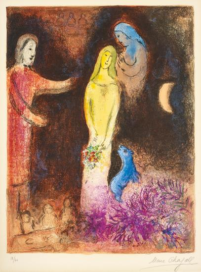 Marc Chagall-Chloe Vetue Et Coiffee Par Cleariste (Chloe Dressed And Capped By Cleariste), Pl.38 From Daphnis Et Chloe-1961