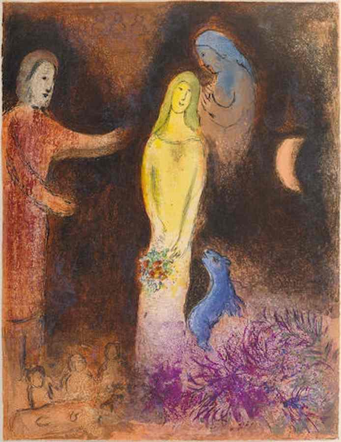Marc Chagall-Chloe vetue et coiffee par Cleariste pl. 38 from Daphnis et Chloe-1961