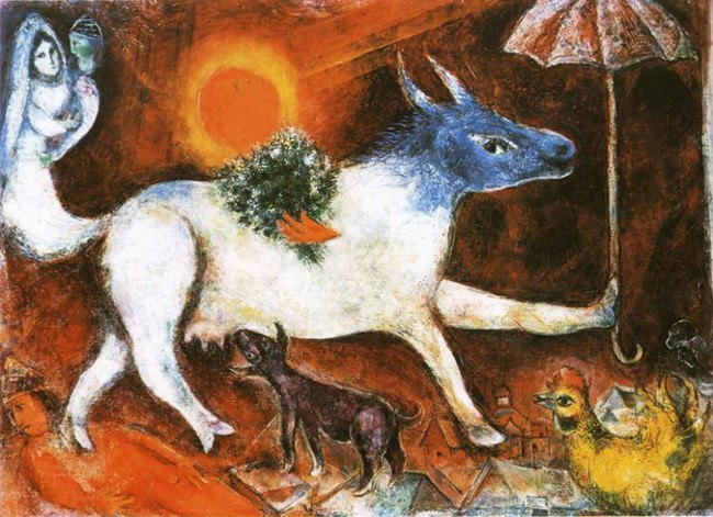Marc Chagall - Cow with Parasol, 1944, photo credits - Marc Chagall Art