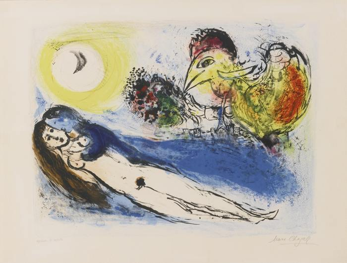 Marc Chagall-Good Morning Over Paris-1952