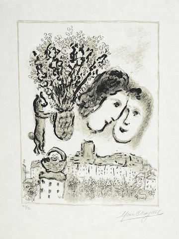Marc Chagall-Gray Double Face-1975