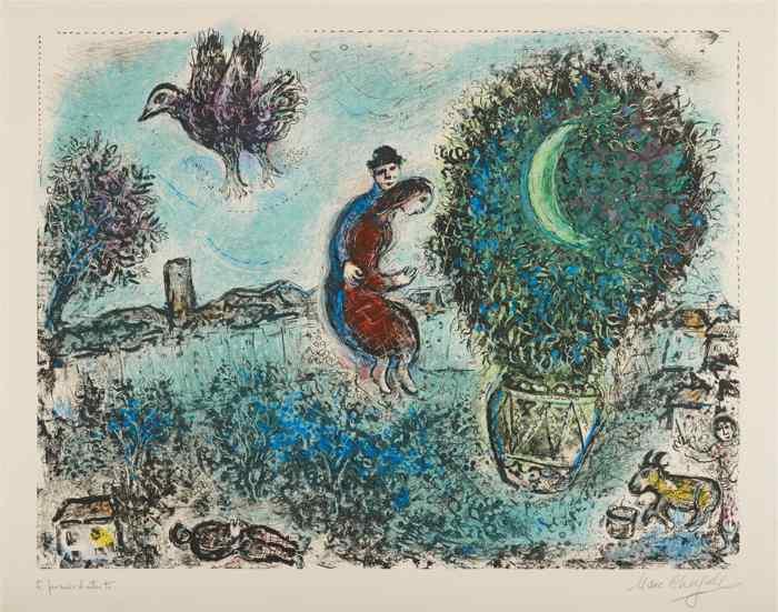 Marc Chagall-La lune dans le bouquet (The Moon in the Bouquet)-1971