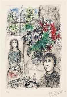 Marc Chagall-Le Chevalet aux Fleurs-1976