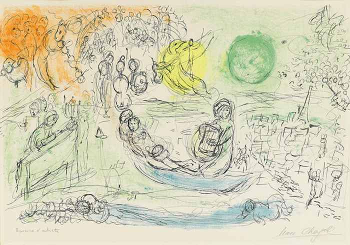 Marc Chagall-Le Concert from Derriere le Miroir no. 99-100-1957