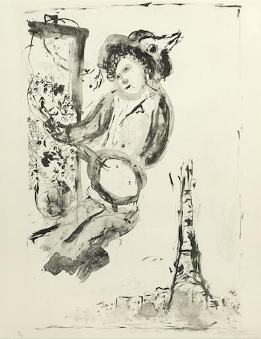 Marc Chagall-Le Peintre sur Paris-1957