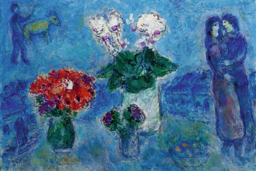 Marc Chagall - Les Amoureux aux trois bouquets, Signed Marc Chagall (lower right); signed Marc Chagall and dated 1980 (on the reverse) Oil on canvas, Painted in 1980.