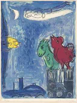 Marc Chagall-Les Monstres de Notre-Dame, from: Derriere Le Mirroir-1954