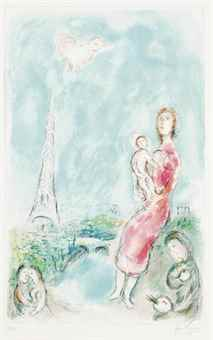 Marc Chagall-Maternite rouge-1980