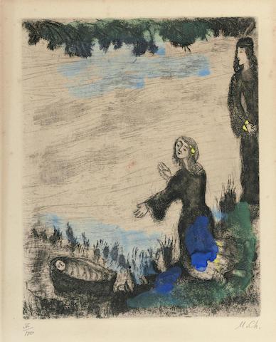 Marc Chagall-Moise sauve des eaux pl. 25 from La Bible-1939