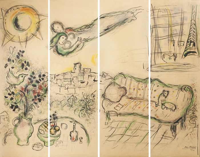 Marc Chagall-Paravent (Screen)-1963
