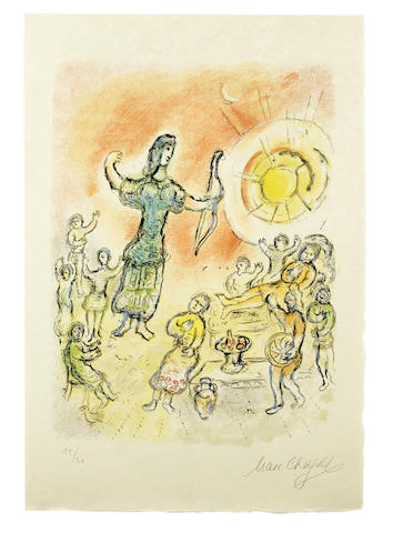 Marc Chagall-Penelope and Ulysses' Bow, from The Odyssea II-1975