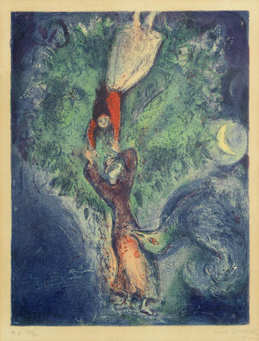Marc Chagall-So she came down from the tree and drawing near him strained him to her bosom...Plate 6, from Four Tales from The Arabian Nights-1948
