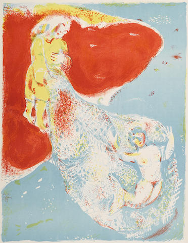 Marc Chagall-When Abdullah got the net ashore pl. 8 from Four Tales from the Arabian Nights-1948