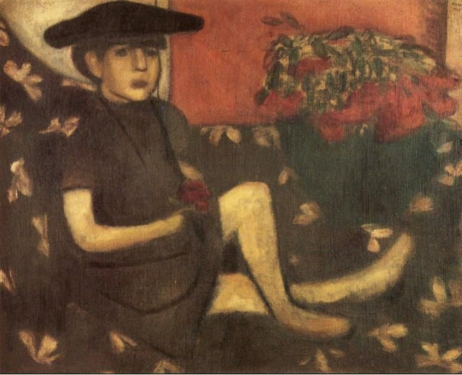 Marc Chagall - Young Girl on a Sofa (Mariaska), 1907, Oil on canvas. , photo credits - ABC Gallery
