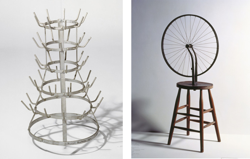 Marcel Duchamp - Bottle-Rack , 1914 (Left) ---- Bicycle Wheel, 1913 (Right)