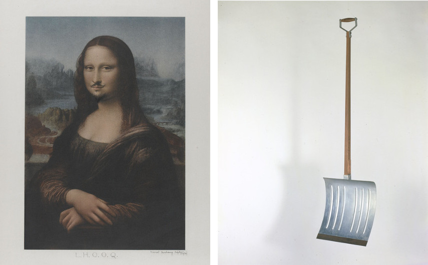 Marcel Duchamp - L.H.O.O.Q. Mona Lisa, 1919 (Left) ---- In Advance of the Broken Arm, 1915 (Right)
