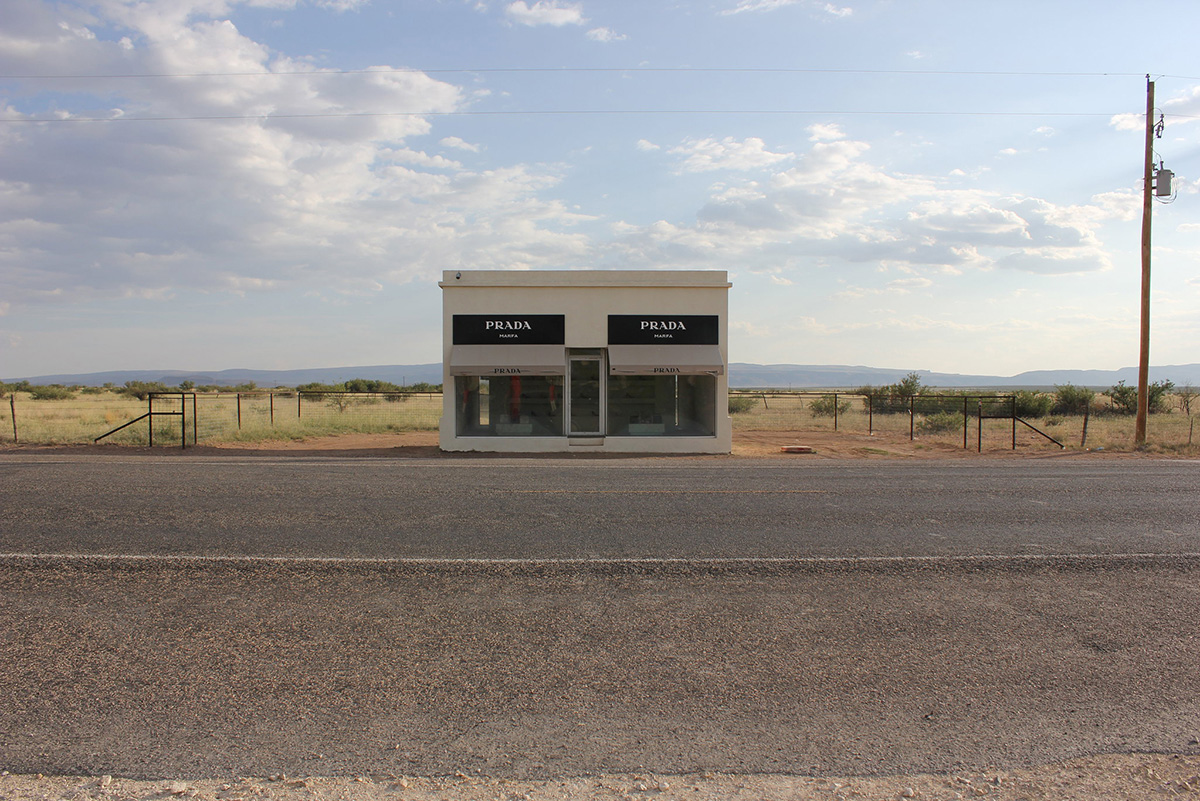 Marfa Prada in Marfa West Texas, open for viewing each day