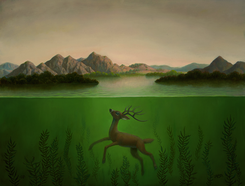 Landscape with a submerged dear